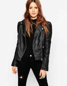 Байкерская куртка со структурированными плечиками ASOS - Черный