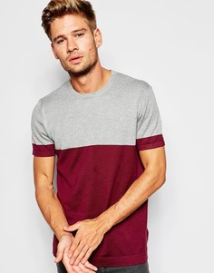 ASOS Cotton Knitted Tshirt with Colour Block - Burgundy