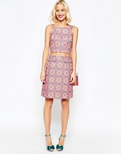 Жаккардовая юбка‑трапеция с эффектом металлик ASOS Co-Ord - Мульти