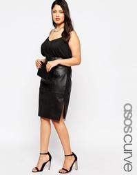 Кожаная юбка‑карандаш с разрезами по бокам ASOS CURVE - Черный