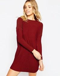 Платье в рубчик с высокой горловиной ASOS - Красный