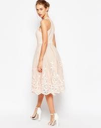 Пышное сетчатое платье с цветочной вышивкой ASOS - Телесный