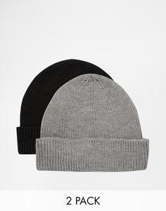 2 рыбацкие шапки‑бини черного и серого цвета ASOS - СКИДКА 20%