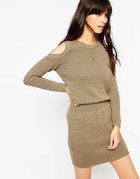 Платье-джемпер с эластичным поясом и открытыми плечами ASOS - Хаки