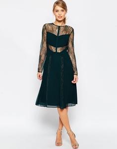 Платье миди с кружевом и складками ASOS - Зеленый
