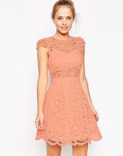 Кружевное платье мини для выпускного с топом-бюстье ASOS - Розовый