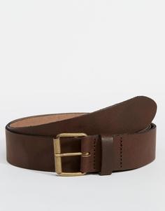 Кожаный коричневый ремень ASOS - Коричневый