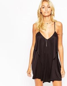 Трикотажное пляжное платье с драпировкой ASOS - Черный
