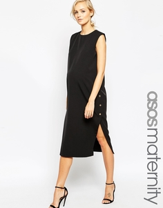 ASOS Maternity Column Dress With Popper Sides - Черный