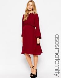 Платье миди для беременных с завязкой ASOS Maternity - Burgundy