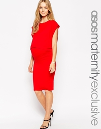 Двухслойное платье миди для кормления ASOS Maternity - Красный