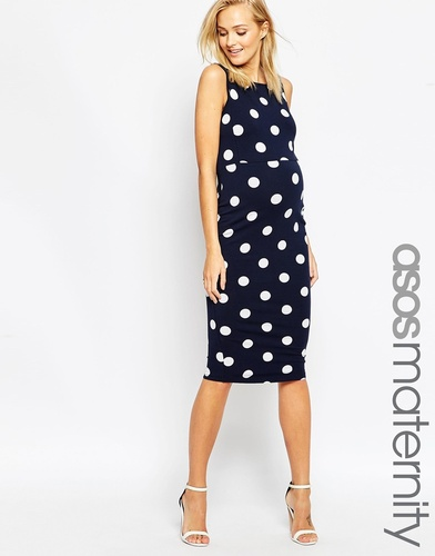 ASOS Maternity Pinny Bodycon Dress In Spot Print - Темно-синий
