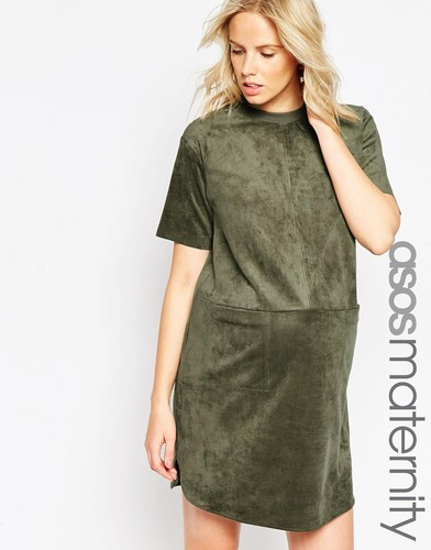ASOS Maternity Shift Dress In Suedette With Pockets And Rib Neck