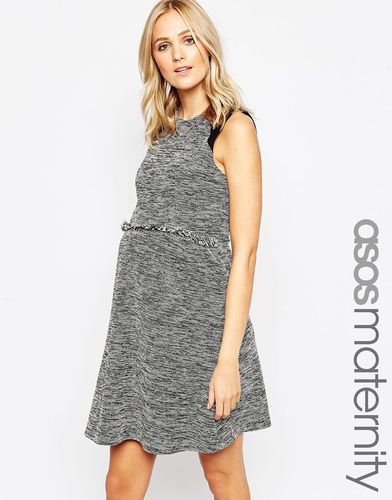 ASOS Maternity Skater Dress In Tweed With Fringe Trim - Серый