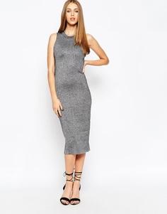 Платье миди из серебристого трикотажа ASOS - Серебряный