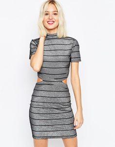 Платье-футболка мини в полоску металлик ASOS - Серебряный