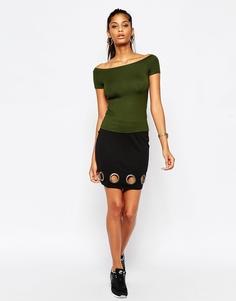 Мини-юбка с люверсами на кромке ASOS - Черный