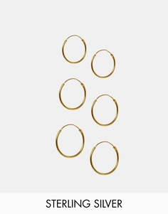 ASOS Pack of 6 Gold Plated Sterling Silver Hoop Earrings - Золотой