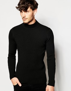ASOS Muscle Fit Turtleneck Ribbed Jumper - Черный