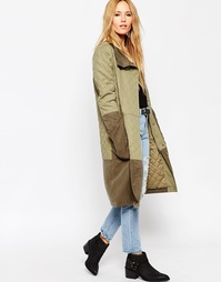 ASOS Parka With Quilted Detail And Contrast Panel - Хаки