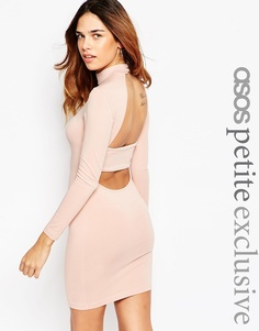 ASOS PETITE Bodycon Dress with High Neck & Open Strap Back - Телесный