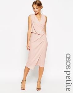 Платье миди с запахом и драпировкой ASOS PETITE WEDDING - Телесный