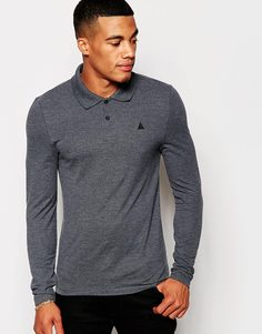 ASOS Pique Muscle Long Sleeve Polo With Embroidery In Charcoal