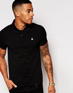 ASOS Pique Muscle Polo With Embroidery In Black - Черный