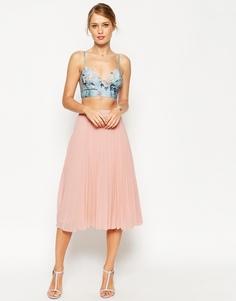 Плиссированная юбка миди ASOS - Телесный