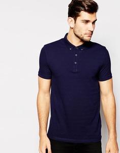 Темно-синяя футболка-поло с воротником на пуговицах ASOS - Темно-синий