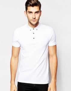 Белая футболка-поло из ткани пике с воротником на пуговицах ASOS