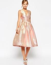 Платье миди с голографическим принтом ASOS SALON - Розовый