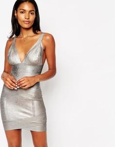 Бандажное платье мини с эффектом металлик ASOS SCULPT - Серый