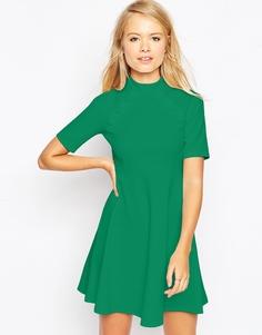 Короткое приталенное платье с завышенной талией и пуговицами ASOS