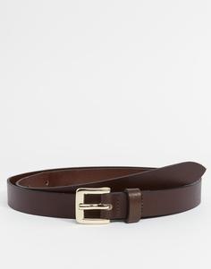 Узкий коричневый кожаный ремень в строгом стиле ASOS - Коричневый