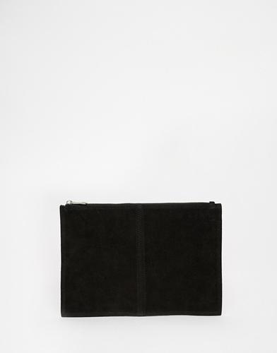 Замшевый клатч на молнии ASOS - Черный