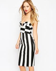 Платье-футляр в полоску ASOS - Черно-белый