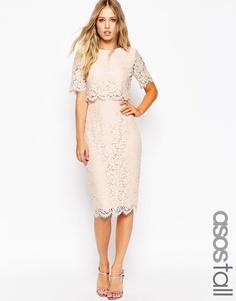 Кружевное платье-футляр миди с укороченным топом ASOS TALL - Розовый