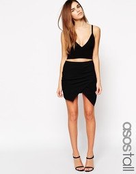 Мини-юбка с запахом спереди ASOS TALL - Черный