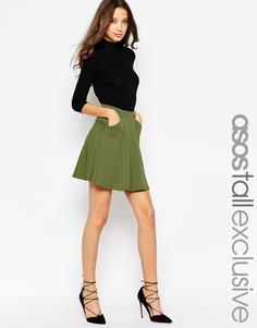 Короткая расклешенная юбка с карманами ASOS TALL - Хаки