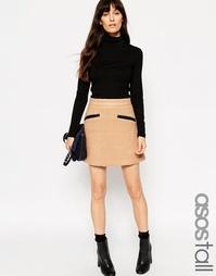 Короткая юбка-трапеция с контрастными карманами ASOS TALL - Кэмел