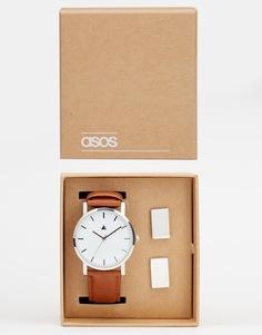 Набор с часами и запонками ASOS - Коричневый
