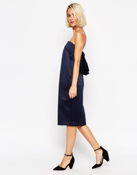 Атласное платье-бандо ASOS WHITE - Темно-синий