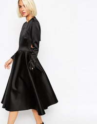 Атласное платье с пышной юбкой ASOS WHITE - Черный