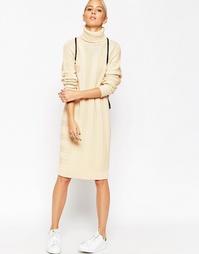 Платье-джемпер в полоску из смеси шелка и кашемира ASOS WHITE