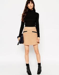 Короткая юбка-трапеция с контрастными полиуретановыми карманами ASOS