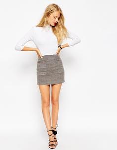 Мини-юбка из смесовой шерсти с карманами ASOS - Серый