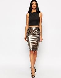 Лакированная юбка-карандаш AX Paris - Pewter
