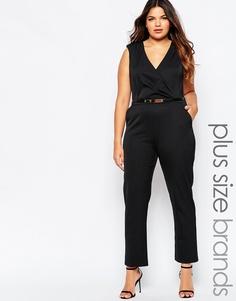 AX Paris Plus Wrap Front Jumpsuit - Черный