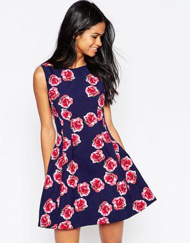 Короткое приталенное платье с розами Aх Paris - Темно-синий